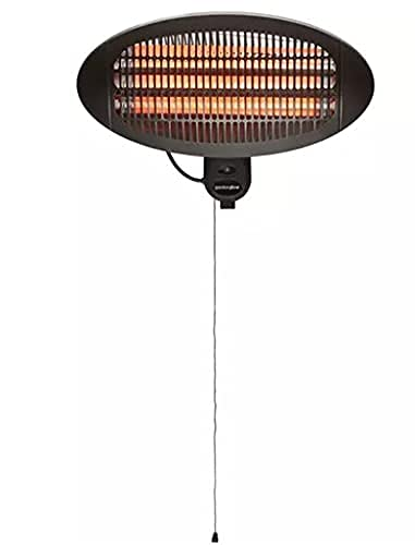 2Kw Electric Outdoor Garden Patio Heater – Wall-Mounted Infrared Heater with Tilt Adjustable Head – Outdoor Heater for Patio, Garden, Restaurants, – Patio Heater with 3 Heating Options 2000W