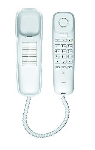 Gigaset DA210 - Schnurgebundenes Telefon - klassisches Schnurtelefon mit Stummschaltung und gutem Klang - platzsparendes Festnetztelefon, weiß