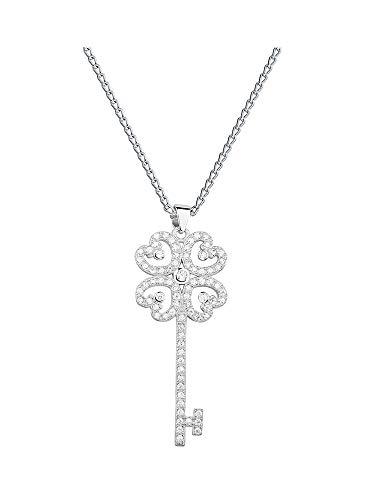 *Beforia Paris* - * Llave de corazón * - Circonita Swarovski Elements - Fantástico collar - con cadena de plata de ley 925 con elementos Swarovski - Collar con estuche de joyería Model 09