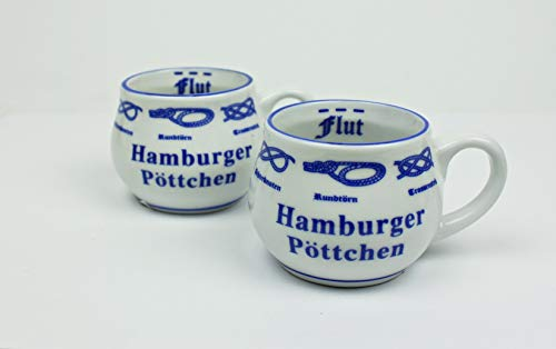 Hamburger Pöttchen mit Seemannsknoten 2er Set bauchig Hamburg Andenken Mini Becher Schnapsglas Schnaps
