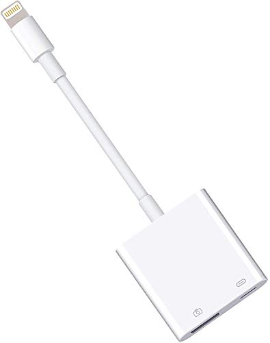 Cezo USB Camera Adapter with Charging Port Female USB OTG Cable Adapter for Select iPhone,iPad Models Support Connect Camera, Card Reader, USB Flash Drive, MIDI Keyboard,(White)