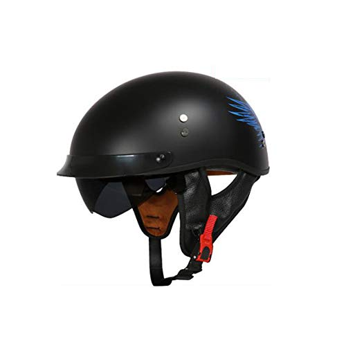 AH&Y Pilot Jethelm Windschutzscheibe Sonnenbrille Motorrad Vespa Helm DOT Zertifizierung Harley Retro Carbon Helm,C,XL(59~61cm)