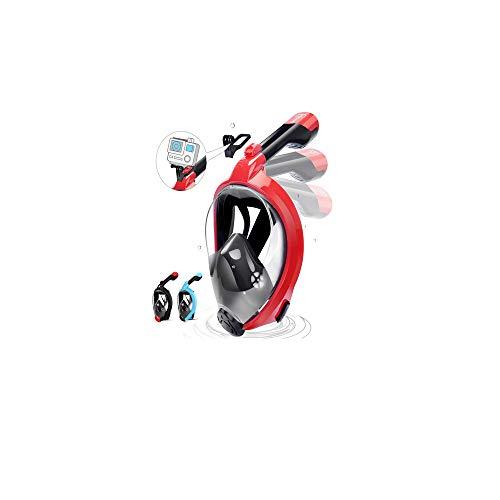 HENGBIRD Máscara de Buceo Integral Máscara de Esnórquel Anti-Vaho Anti-Fuga Gafas Cara Completa 180 ° Visible Apoyo Camara Deportiva (Red L/XL)