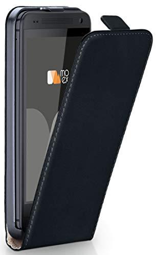 moex Flip Case für HTC One M8 / M8s - Hülle klappbar, 360 Grad Klapphülle aus Vegan Leder, Handytasche mit vertikaler Klappe, magnetisch - Schwarz