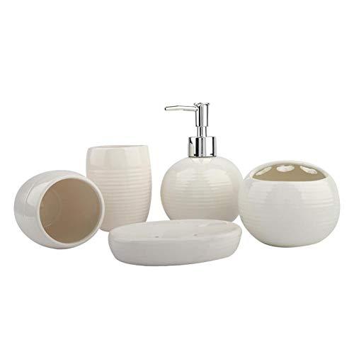 Juego de baño Moderno Simple Loción Dispensador 5pcs para uso en el hogar (blanco)