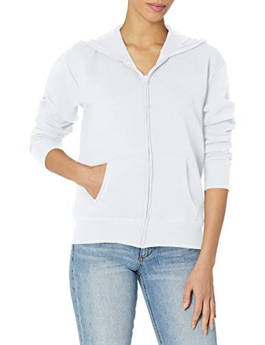 Hanes Women's EcoSmart Full-Zip Hoodie Sweatshirt, White, Large