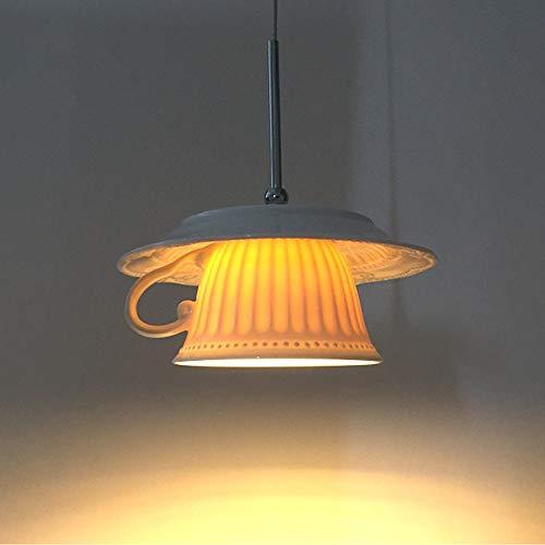 Pendelleuchte Hängeleuchte Deckenleuchte Hängeleuchte Lampenschirm Keramik Kaffeetasse Kronleuchter Höhenverstellbar Wandleuchte LED Restaurant Wohnzimmer Bar Innenbeleuchtung Droplight Hängelampe,A