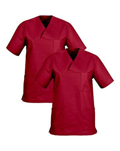 CLINIC DRESS Schlupfkasack im Doppelpack Unisex Kasacks Schlupfhemd für die Pflege oder Medizin in 100% Baumwolle 60 Grad Wäsche Regency red XL