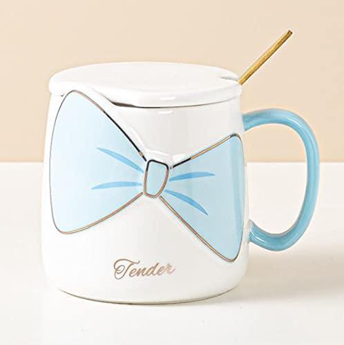 YDZB Tazza da caffè in ceramica Tazze da tè con fiocco in cioccolata calda con coperchio Cucchiaio 400 ml Regali di compleanno perfetti per le donne Mamma moglie (Blu)