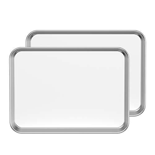 Bastwe Baking Sheet Set of 2, Stainless Steel 2-Piece Cookie Sheet, Toaster Oven Baking Pan Set, Rectangle Size 16 x 12 x 1 inch, Healthy & Non Toxic, Mirror Finish & Rust Free, Dishwasher Safe