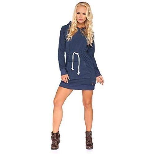 FUTURO FASHION Womens Autumn Sweater Casual Long Hooded Dress Long Sleeve Sport Hoodie Adjustable Waist Size 8-14 FT1462