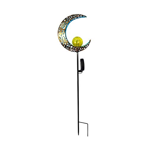CHUN LING Luces solares para jardín, Globo de Cristal crepitante Impermeable con Luna de Metal ahuecada Moldeada, para jardín, césped, Patio, Patio
