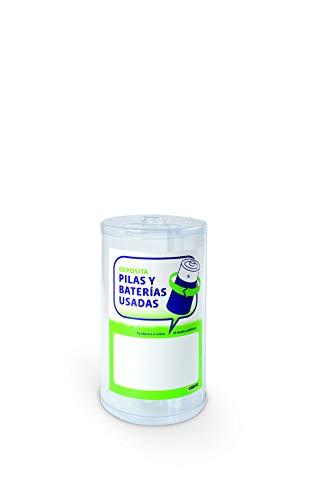 Contenedor para pilas (reciclapilas) de mesa o mostrador desechable de 3 litros de capacidad y 2 compartimentos: pilas de botón y otras pilas- PACK DE 6 (3 litros - desechable)
