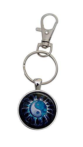 Schlüsselanhänger, Taschenschmuck Yin & Yang Stil, Stern, neutral, mit Karabinerhaken