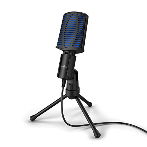 Urage Gaming-Mikrofon Stream 100 (Kabellänge 2 Meter, USB, mit Standfuß, 50 Hz - 16 kHz, 2200 Ω) schwarz/blau