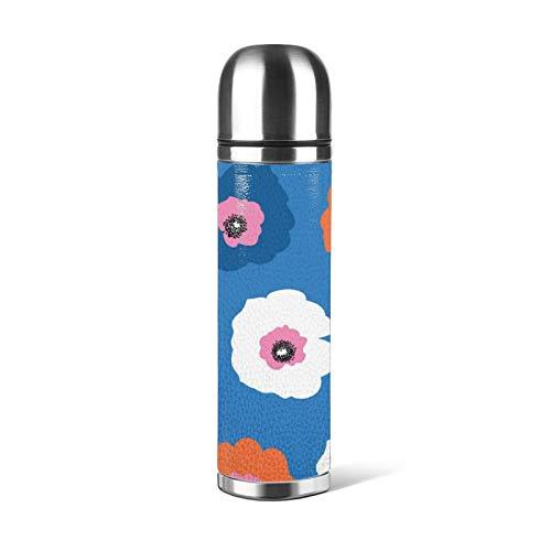 Taza de acero inoxidable con aislamiento térmico para botella de agua, taza de café, a prueba de fugas, grande, de color rojo, blanco y azul, para oficina, viajes, al aire libre, 470 ml
