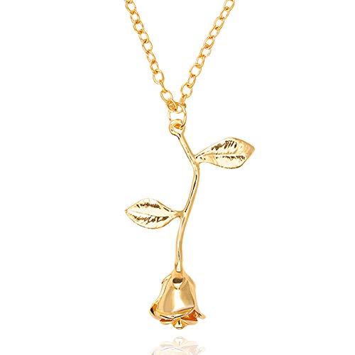 Eudola - Collar para Mujer, Collar con Rosas, Collar Largo, Cadena con Colgante, Collar para Mujer, Joya Moderna, Regalo para Mujer (Oro)