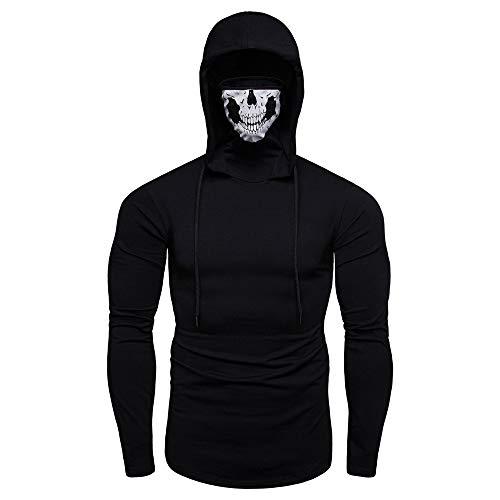 LianMengMVP pour des Hommes Masque crâne Pull à col roulé Couleur Pure Pullover Sweat à Capuche à Manches Longues Hauts Chemisier