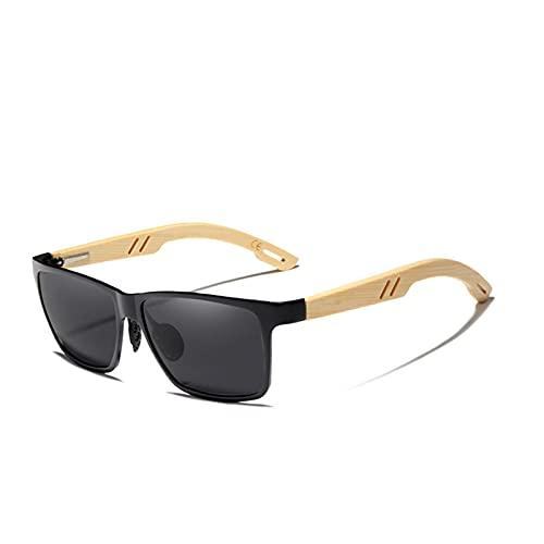 YWSZY Gafas de Sol Moda polarizada Aluminio + Bambú Natural Wooden SunmAses Hecho a Mano Gafas UV400 Gafas para Mujer Gafas de Sol (Lenses Color : Black Bamboo)