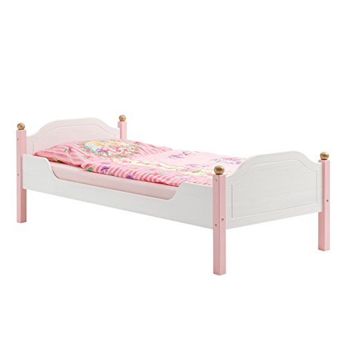 Einzelbett Kinderbett Mädchenbett Bett Isabella, Kiefer massiv, weiß/rosa