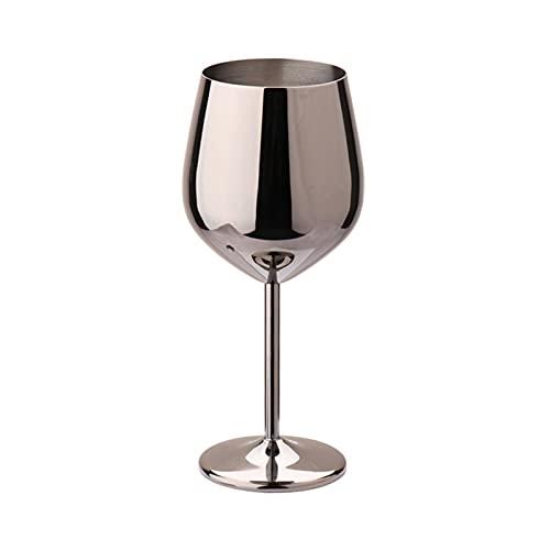 Jiaojie Copa de vino tinto de acero inoxidable de 500 ml Tipo de tambor resistente a las caídas Copa de vino plateado cobre