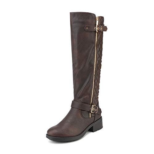 DREAM PAIRS Women's Utah Brown Low Stacked Heel Knee High Riding Boots Size 9 M US