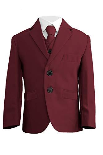 Jongens Slim Bourgondië Suit, 5-delig pak, Slim Fit, Jongens Bourgondië Bruiloft Suit, Proms, bruiloften, Feesten, Wijn 1 Jaar - 14 Jaar