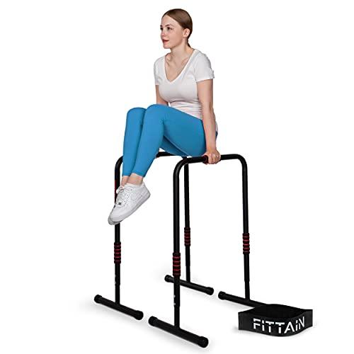 FITTAIN Praktisches Dipbarren Set – Dipbarren bis 150kg belastbar – Höhenverstellbare Dip Station [80-90] cm – mit Fitnessband & Übungsposter