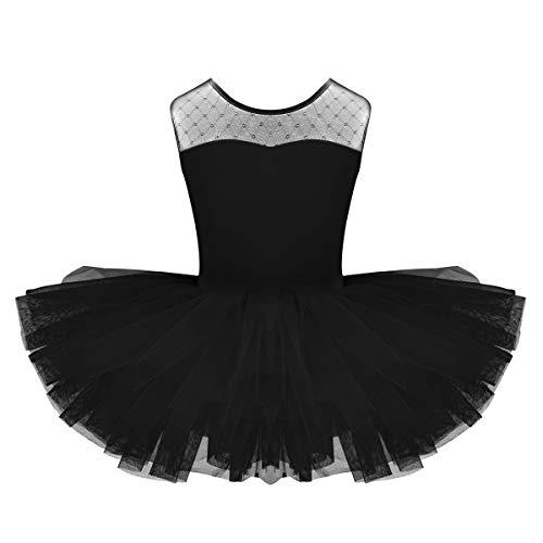iixpin Ragazza Leotard Vestito Ballerina Bambina con Tutu Danza Classica Balletto Dancewear Body Ginnastica Artistica Senza Manica Abito da Ballo Latino Nero 8 Anni