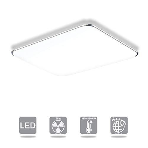 Froadp 48W Ultraslim LED Luz de techo Pasillo Sala de estar Habitación para niños Lámpara de techo Lámpara de techo Dormitorio Luz de cocina(48W Frío blanco)
