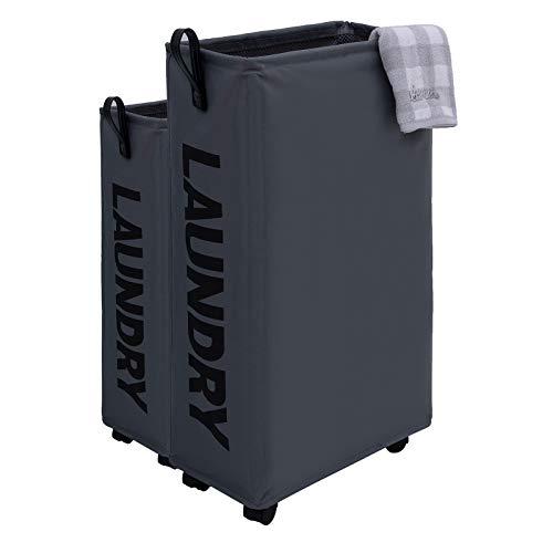 Caroeas Cestas de lavandería extragrandes delgadas de 27 pulgadas de alto con asa de cuero, cesta de lavandería con ruedas, cesta plegable para la colada, cestas para dormitorios