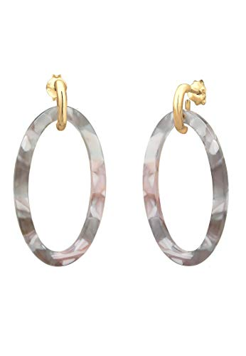 Elli Ohrringe Damen Hänger Acetat Gemustert Oval Trend in 925 Sterling Silber
