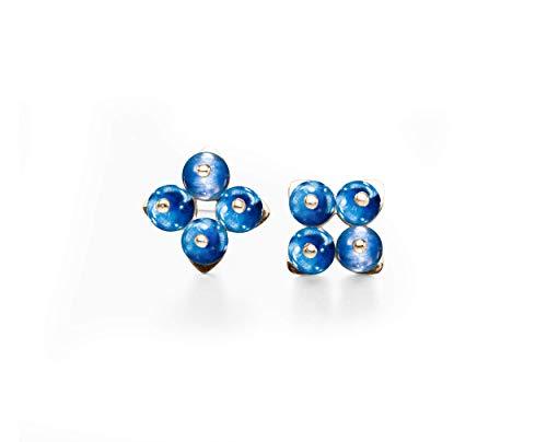 Kyanite earrings by Majade. Dainty royal blue earrings, sapphire blue gemstone jewelry. Handmade solid 14k white gold earrings. Simple minimalist dainty stud earrings. Delicate cross studs for women