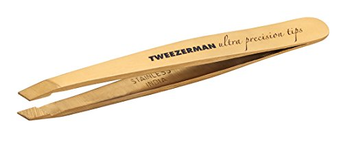 TWEEZERMAN Mini Pinzette Studio Collection mit Handgefeilter Abgeschrägter Spitze, Gold