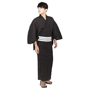 [キョウエツ] 浴衣セット いなせ G 6点セット(浴衣、帯、下駄、信玄袋、腰紐、扇子) メンズ (L, G-5.茶(綿角帯 白))