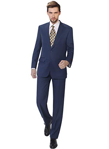 P&L Men's Suits 2-Piece Classic Fit Single Breasted 2 Buttons Blazer & Trousers Suit Cobalt Blue