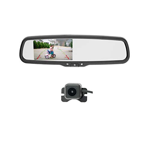 EchoMaster - Backup Camera and Mirror Monitor Kit - Includes Lip Mount Camera, Rearview Mirror Monitor, and Install Wires/Brackets/Cables