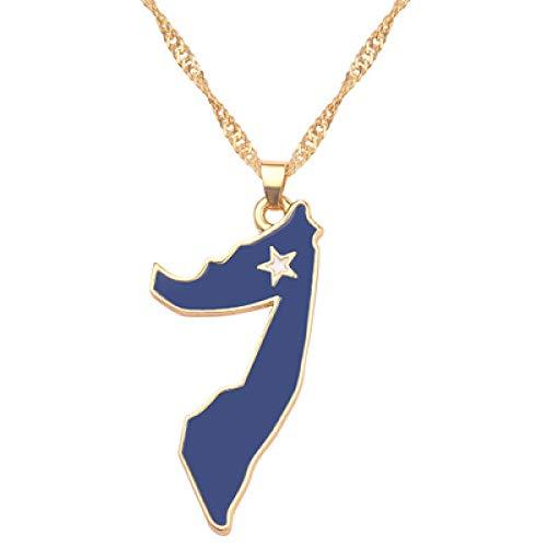 TFOOD Kaart Ketting Voor Vrouwen, Somalië Vlag Kaart Hanger Gouden Ketting Bedel Patriottische Etnische Sieraden Voor Moeder Mannen Gift Accessoires