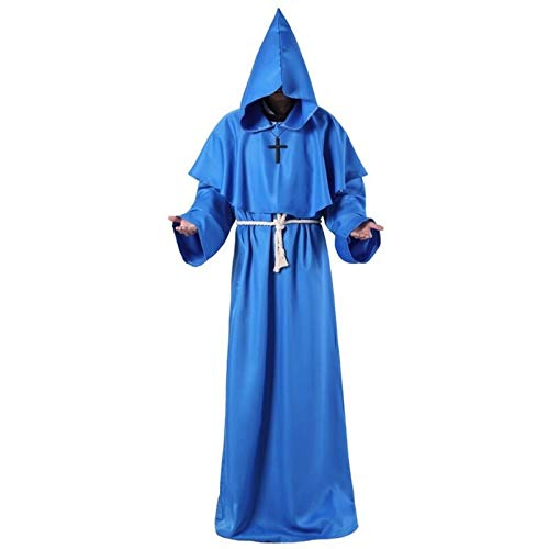 Capa Capucha Capa con Capucha Monk con Capucha Batas Capa Fraile Medieval Sacerdote Hombres Robe Ropa Cosplay Traje HalloweenParty (Color : Blue, Size : S)