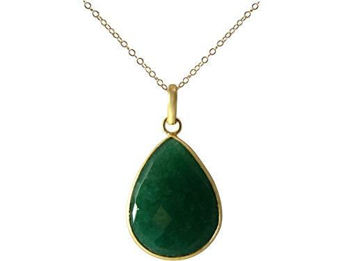 Gemshine Halskette mit Smaragd Edelstein Tropfen. Anhänger aus 925 Silber oder hochwertig vergoldet an 60cm Kette. Nachhaltiger, qualitätsvoller Schmuck Made in Spain, Metall Farbe:Silber vergoldet