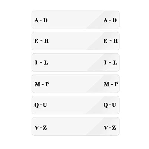 MayRecords 6枚入 透明アクリル仕切りカードCD用水平仕分けカード タグカード CD収納ラック用 簡単迅速に区別し、整理 A to Z 字母式分類カード