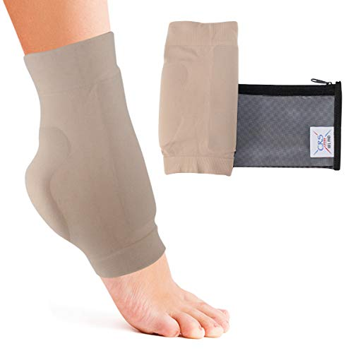 Boot Bumper Gel Pad Sleeve - Padded Skate Sock for Foot Protection of Achilles Tendon & Lace Bite Area Skating, Hockey, Roller, Ski, Hiking, & Riding Boots (2 Sleeves & Bag) (One Size Fits Most)