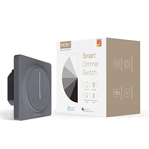 MOES WiFi Interruttore dimmer per luci Smart Touch, Touch Dimming Control Timer Luminosità Memoria, Tuya Smart Life APP Telecomando Funziona con Alexa Google Voice Assistants, grigio
