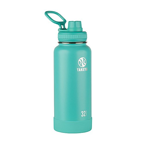 Takeya Actives Insulated Stainless Steel Water Bottle with Spout Lid, 32 oz, Teal