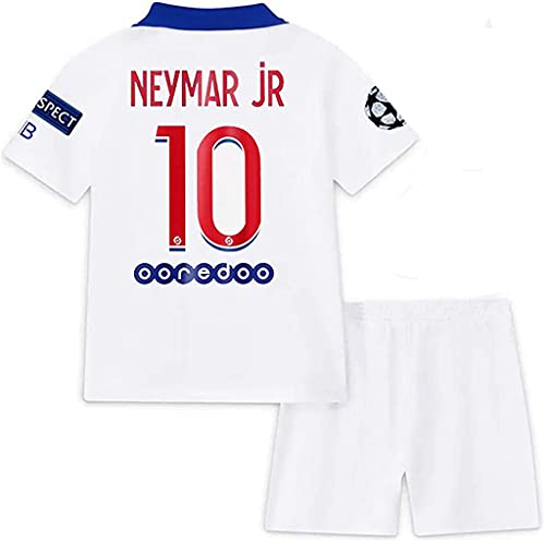 Paris 2020-2021 New Season #10 Neymar Kids/Youth Soccer Away Jersey & Shorts & Armbands T-Shirts Color White Size 24