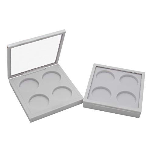 E-Meoly 6G Envase cosmético, 6pcs embalado ABS blanco vacío sombra de ojos envase 4-rejillas crema tarros maquillaje casos para almacenamiento productos de belleza, lápiz labial, crema, sombra de ojos