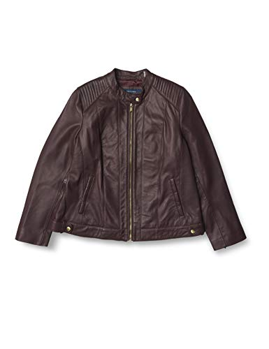 Cole Haan Women's Smooth Lamb Racer Jacket Leather, Chianti, 1x