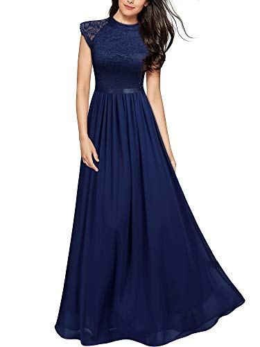 MIUSOL Abendkleid Lang Elegant Brautjungfer Chiffon Faltenrock Langes Kleid Bodenlang Kleid Navy Blau Gr.L