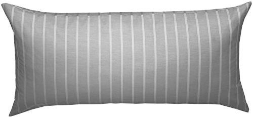 Bettwaesche-mit-Stil Mako Satin Damast Streifen Wendebettwäsche Santiago gestreift (Silber - grau, Kissen 40cm x 80cm)