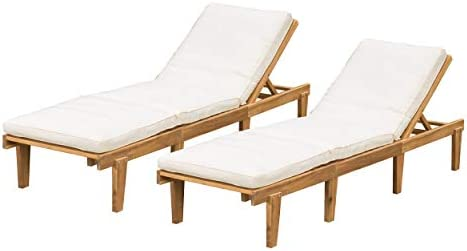 Best Christopher Knight Home Outdoor Pool/Deck Furniture, Teak Chaise Lounge Chairs with Cushions (Set of